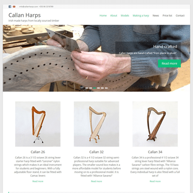 Callan Harps Homepage - website designed by Pagecrafted