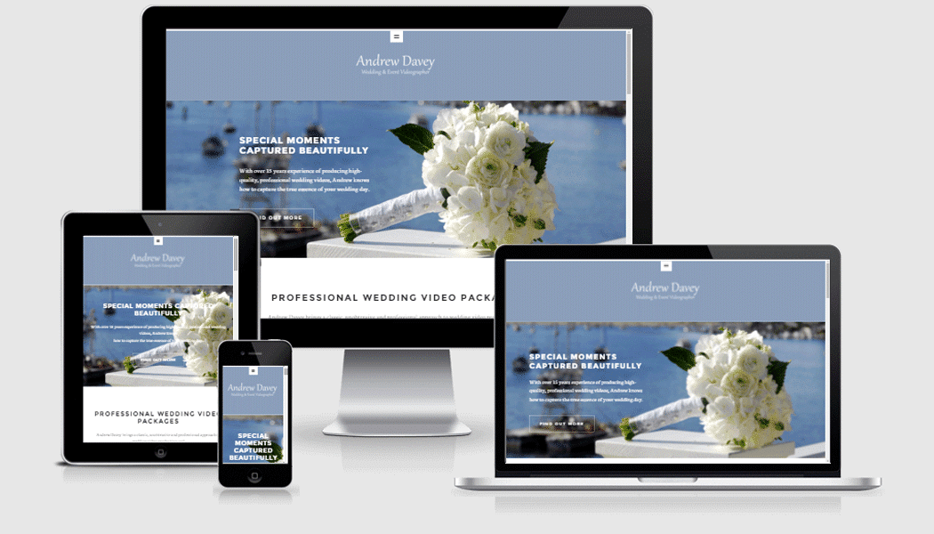 Wedding DVD by Andrew Davey - Mobile responsive website designed by Pagecrafted