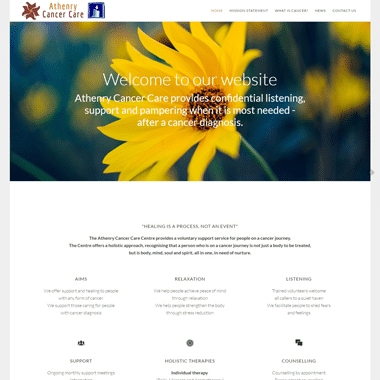 Athenry Cancer Care Homepage - Affordable website designed by Pagecrafted