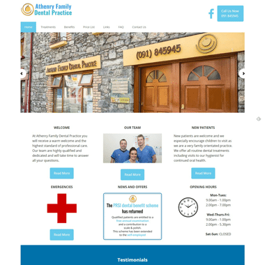 Athenry Family Dental Practice - a mobile responsive website designed by Pagecrafted