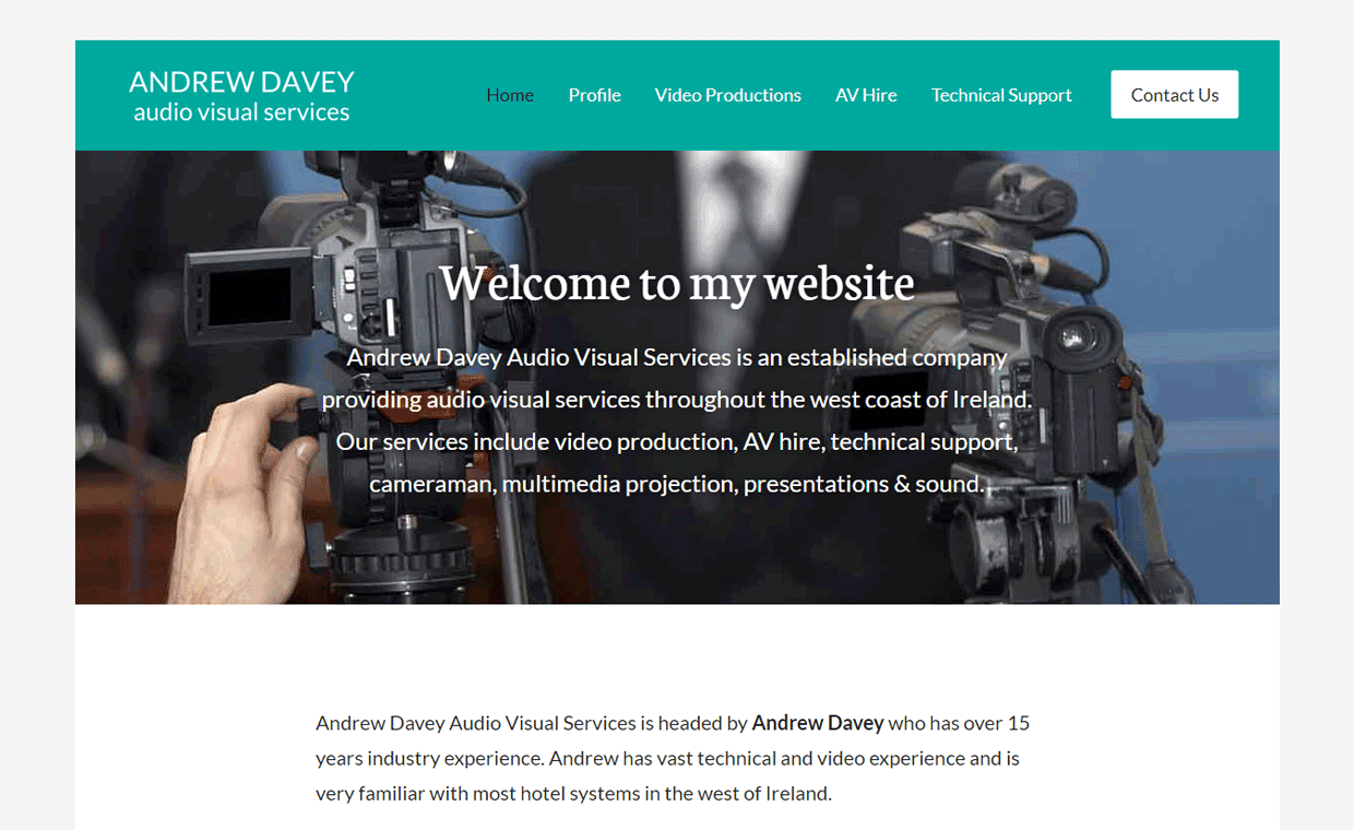 Andrew Davey AV - Affordable website designed by Pagecrafted