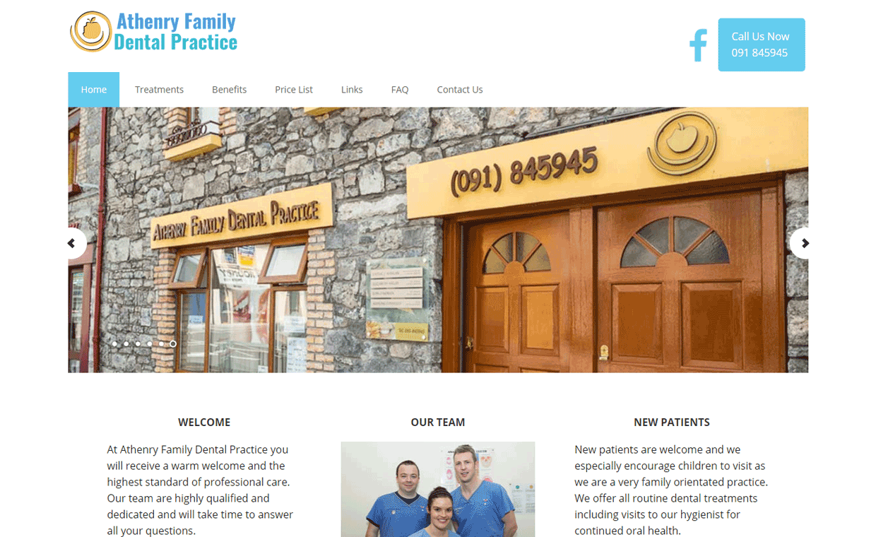 Athenry Family Dental Practice Co. Galway - Affordable website by Pagecrafted