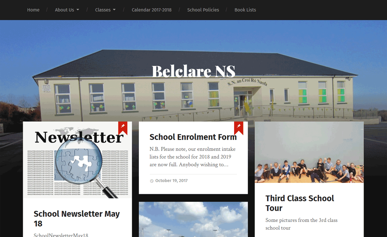 Belclare NS Homepage - Designed by Pagecrafted