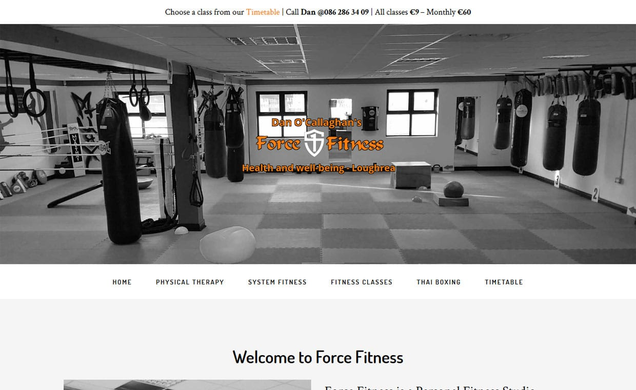 Force Fitness Loughrea - Affordable website by Pagecrafted