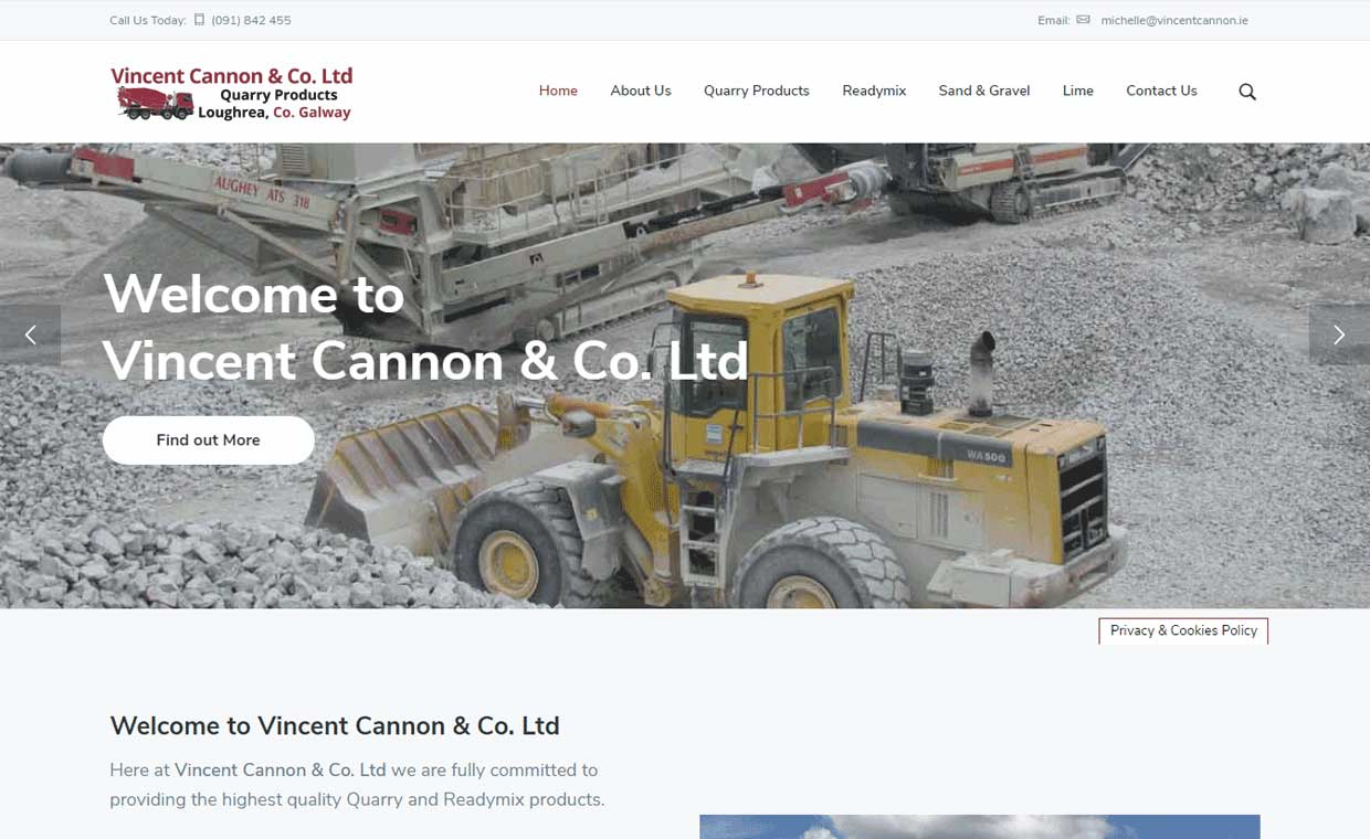 Affordable website by Pagecrafted - Affordable websites Galway - Vincent Cannon Quarry