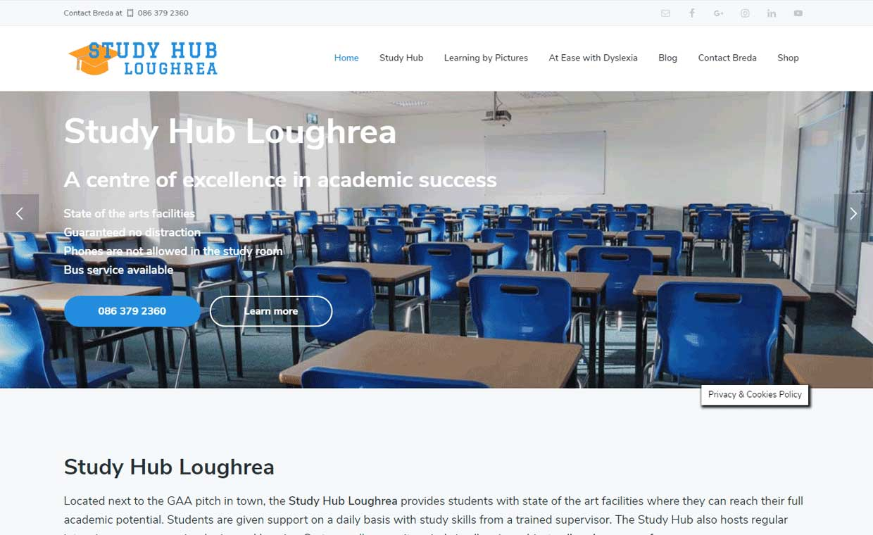 Affordable website by Pagecrafted - Affordable websites Galway - Study Hub Loughrea