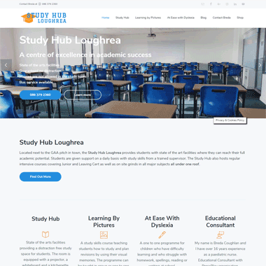 Study Hub Loughrea Homepage - website designed by Pagecrafted